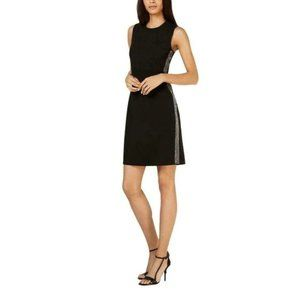 Calvin Klein Sleeveless Dress with Embellished Side Seams 10 Black